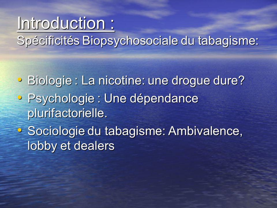 Introduction : Spécificités Biopsychosociale du tabagisme: