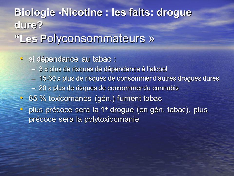 Biologie -Nicotine : les faits: drogue dure Les Polyconsommateurs »