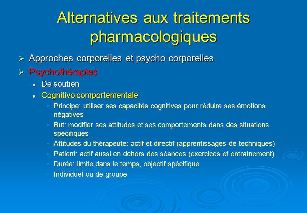 Alternatives aux traitements pharmacologiques