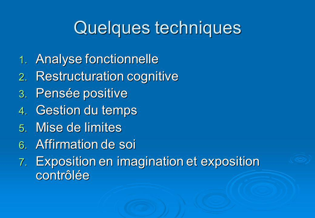 Quelques techniques Analyse fonctionnelle Restructuration cognitive