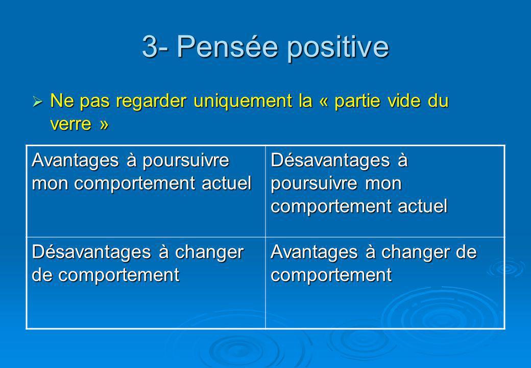 3- Pensée positive Ne pas regarder uniquement la « partie vide du verre » Avantages à poursuivre mon comportement actuel.