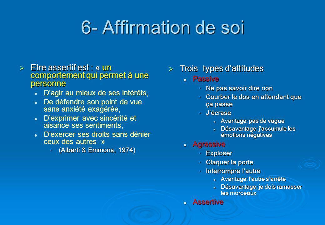 6- Affirmation de soi Etre assertif est : « un comportement qui permet à une personne. D'agir au mieux de ses intérêts,