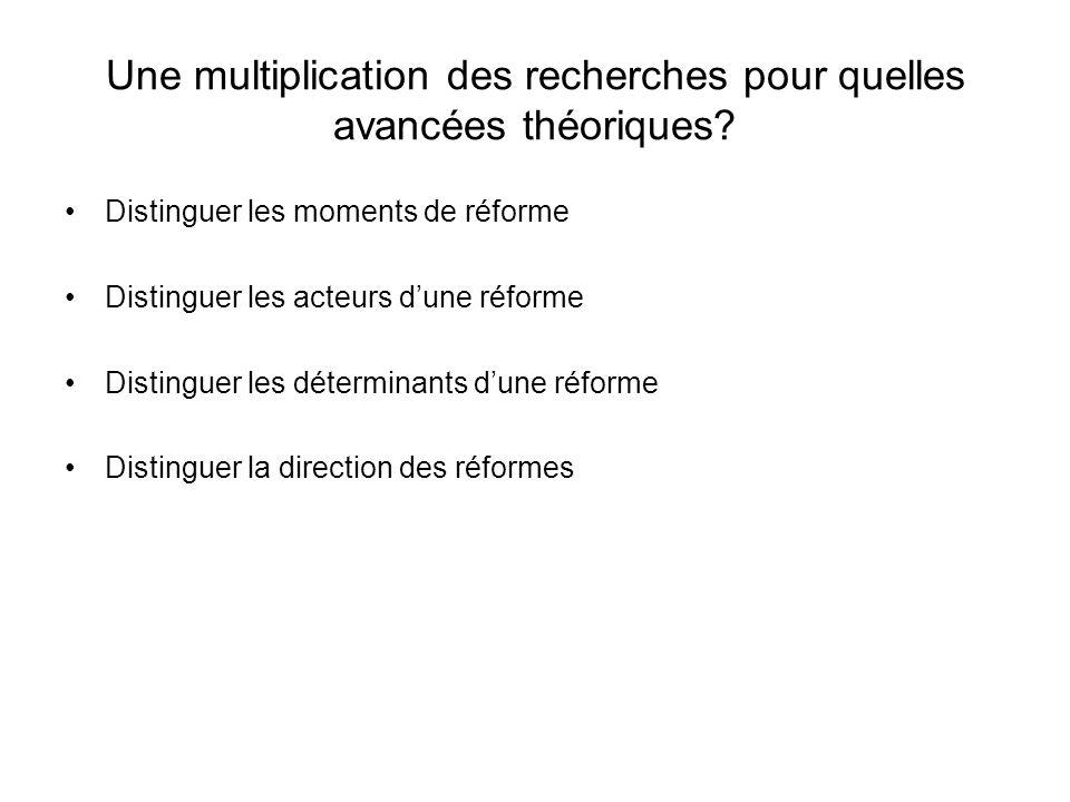 Une multiplication des recherches pour quelles avancées théoriques