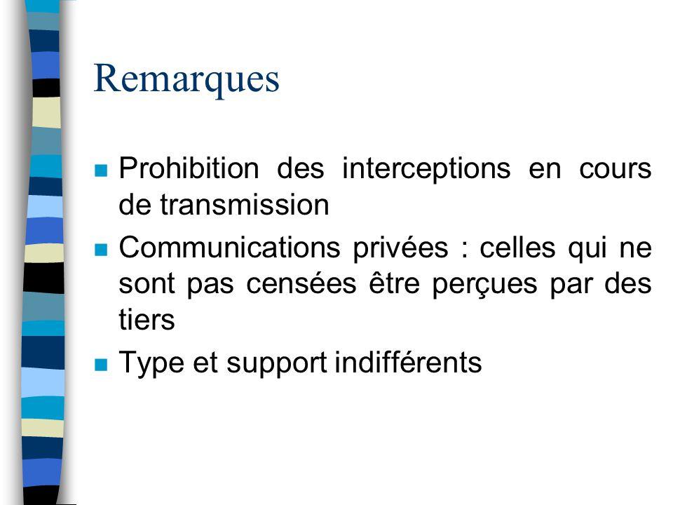 Remarques Prohibition des interceptions en cours de transmission