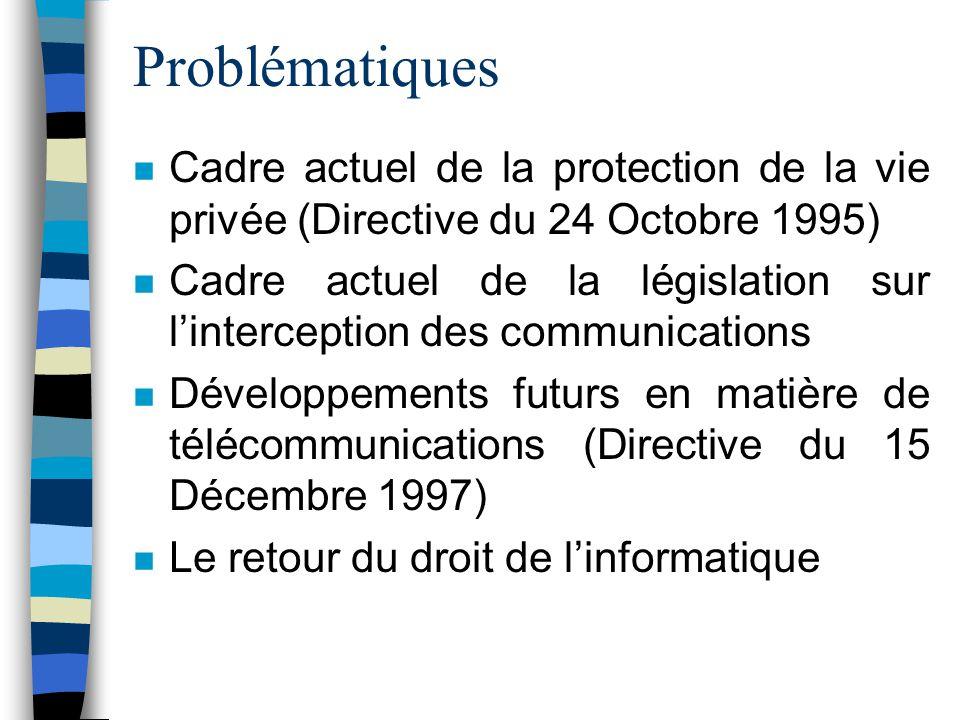 Problématiques Cadre actuel de la protection de la vie privée (Directive du 24 Octobre 1995)