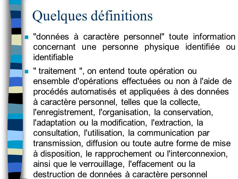 Quelques définitions données à caractère personnel toute information concernant une personne physique identifiée ou identifiable.