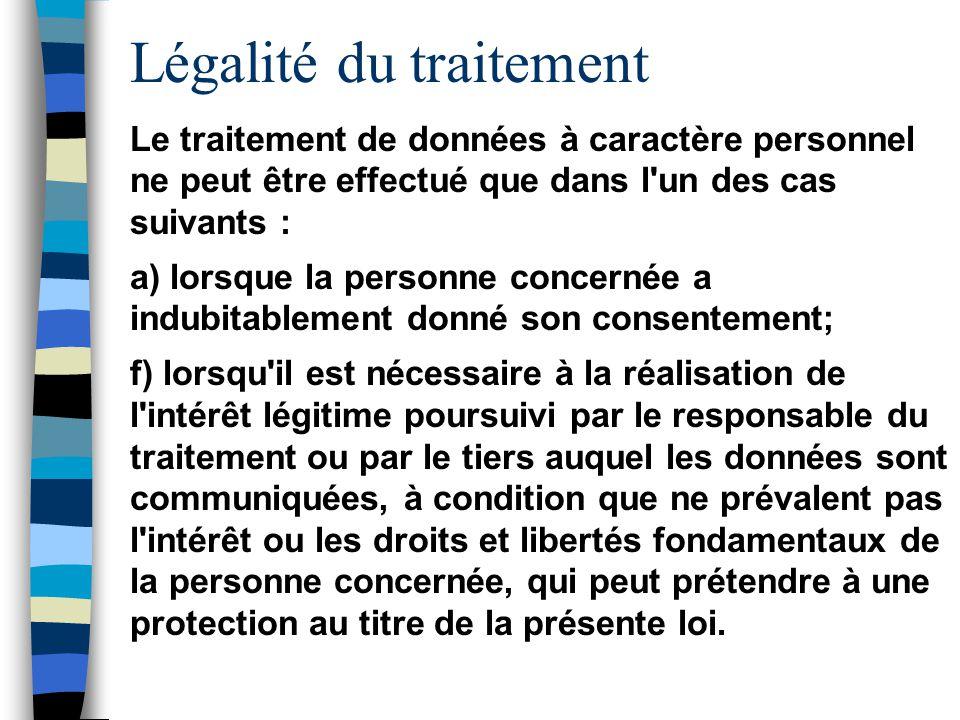 Légalité du traitement