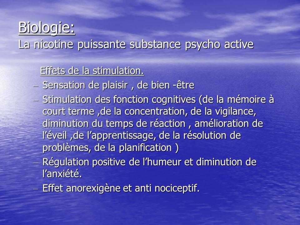Biologie: La nicotine puissante substance psycho active