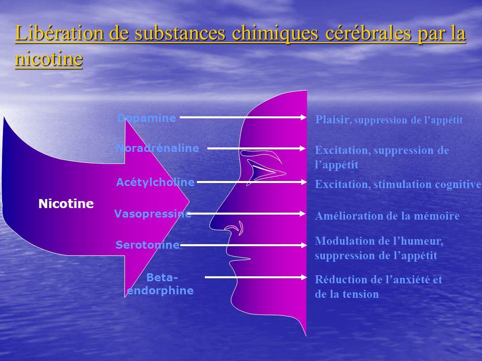 Libération de substances chimiques cérébrales par la nicotine