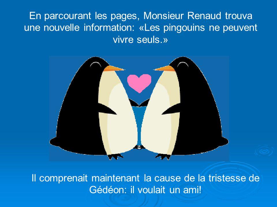 En parcourant les pages, Monsieur Renaud trouva une nouvelle information: «Les pingouins ne peuvent vivre seuls.»
