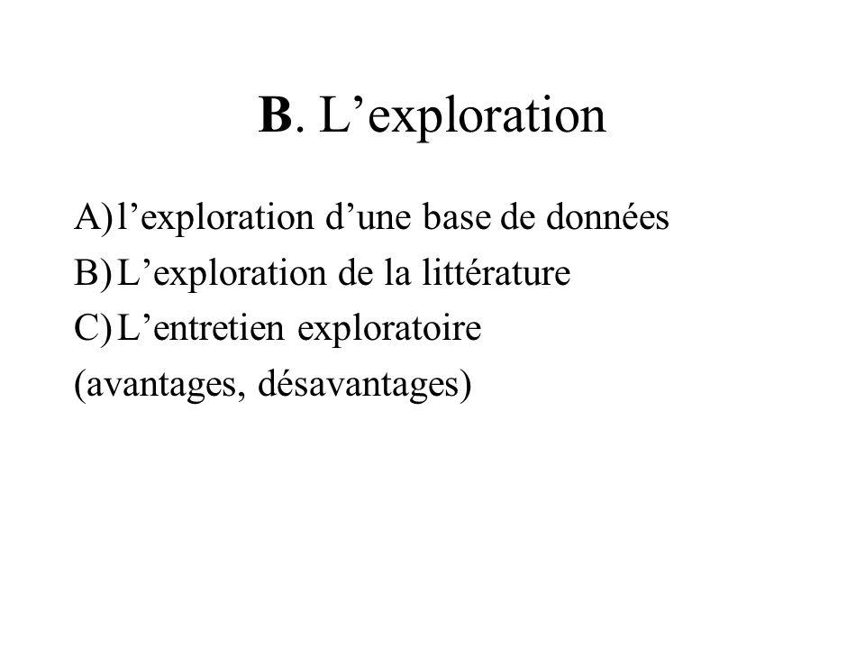 B. L'exploration l'exploration d'une base de données