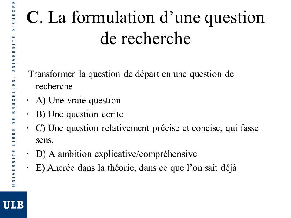 C. La formulation d'une question de recherche