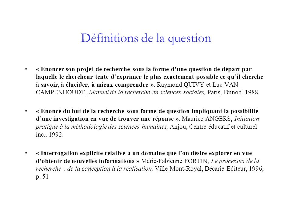 Définitions de la question