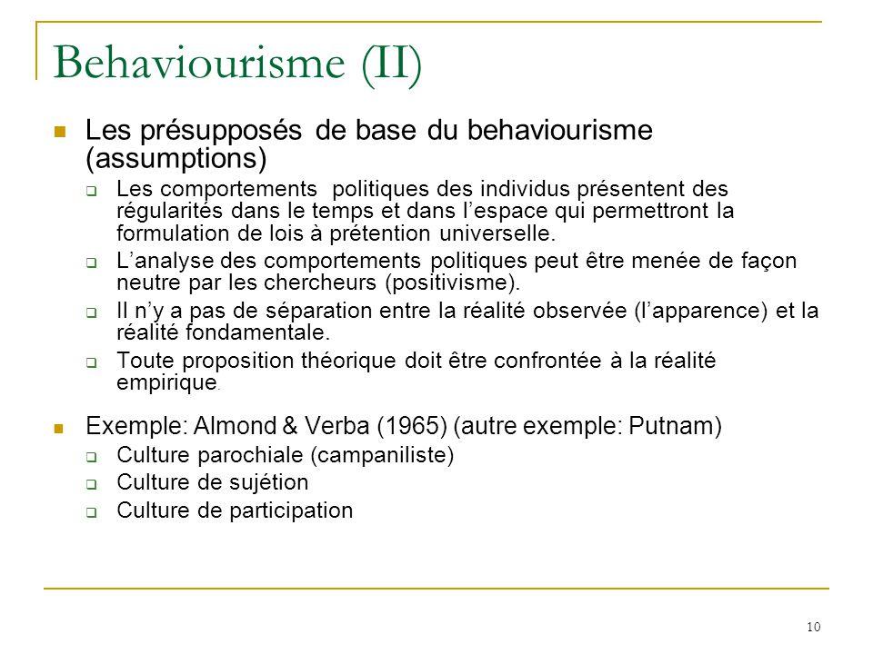 Behaviourisme (II) Les présupposés de base du behaviourisme (assumptions)