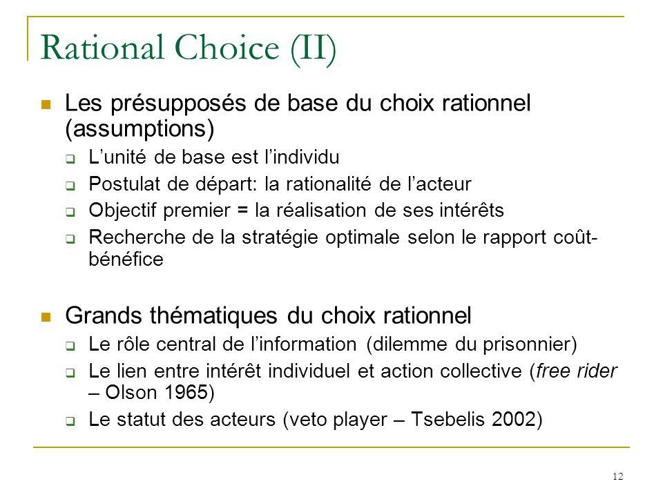 Rational Choice (II) Les présupposés de base du choix rationnel (assumptions) L'unité de base est l'individu.
