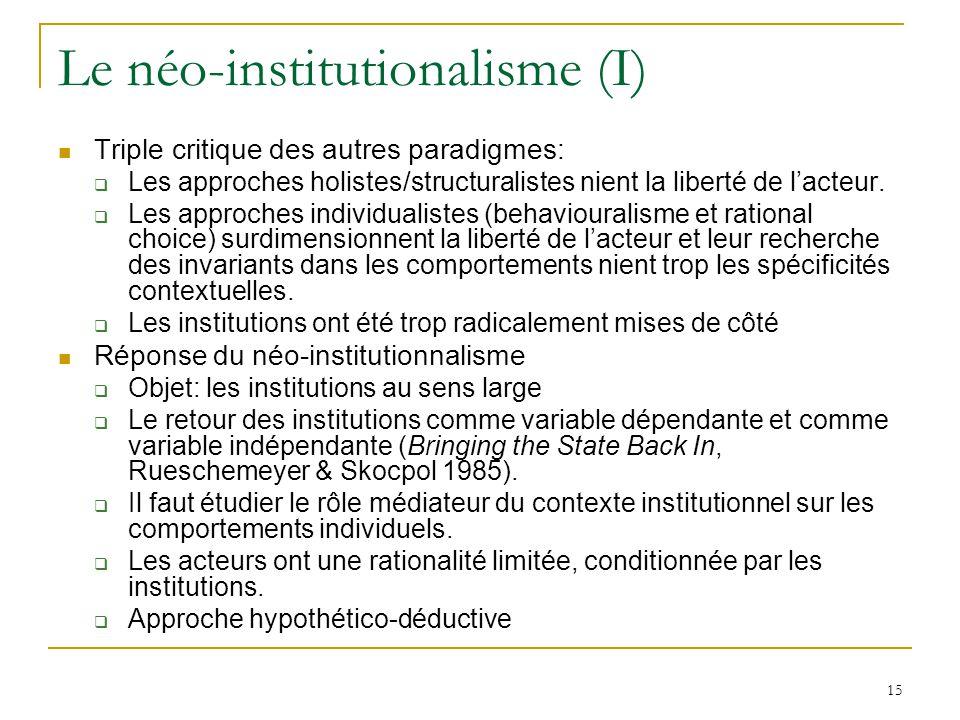Le néo-institutionalisme (I)