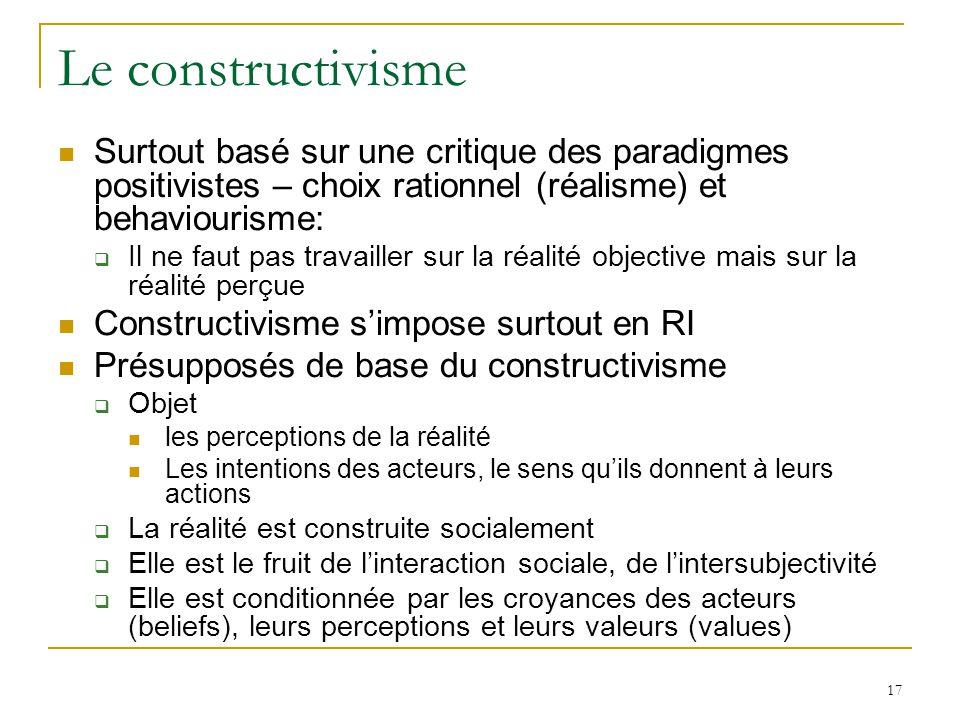 Le constructivisme Surtout basé sur une critique des paradigmes positivistes – choix rationnel (réalisme) et behaviourisme: