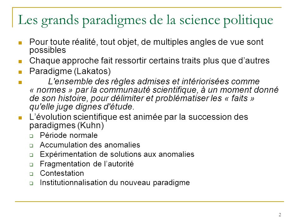Les grands paradigmes de la science politique