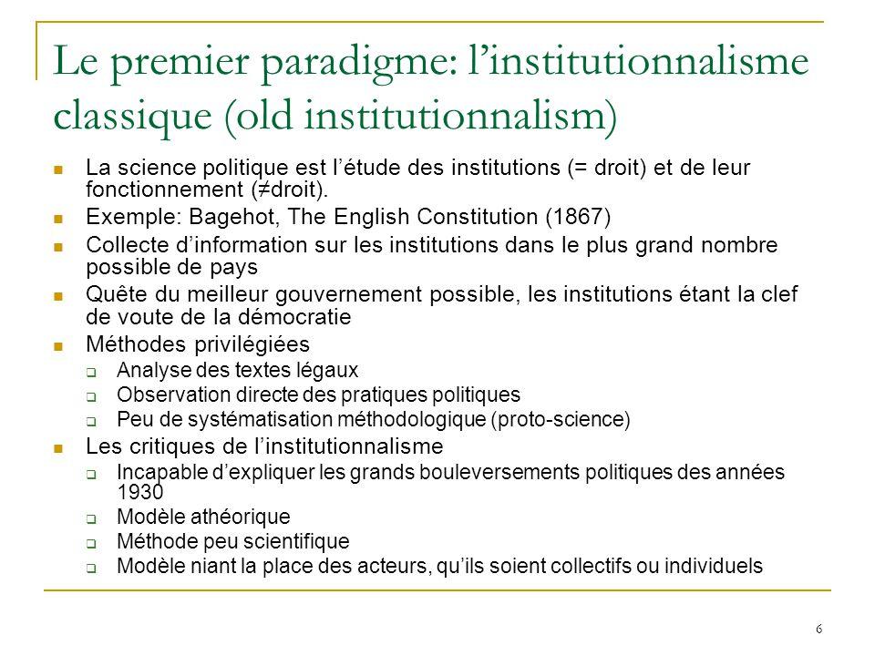 Le premier paradigme: l'institutionnalisme classique (old institutionnalism)