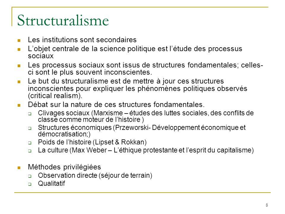 Structuralisme Les institutions sont secondaires