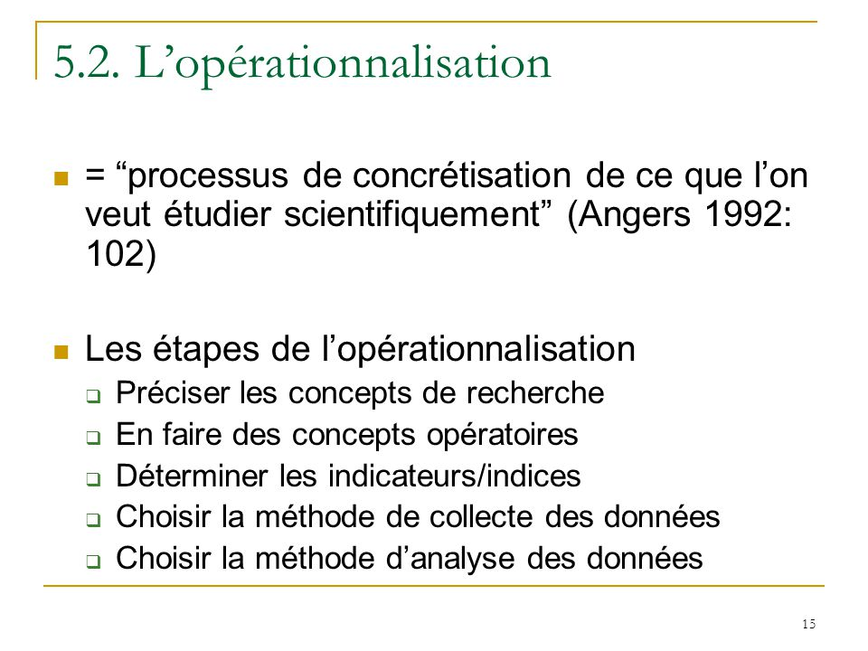 5.2. L'opérationnalisation