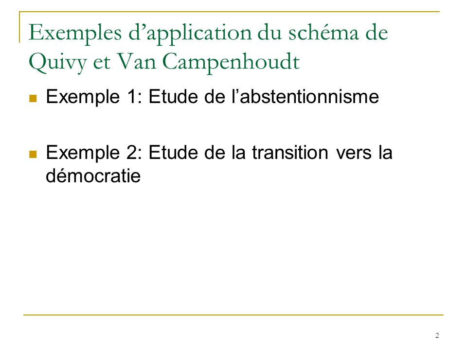 Exemples d'application du schéma de Quivy et Van Campenhoudt