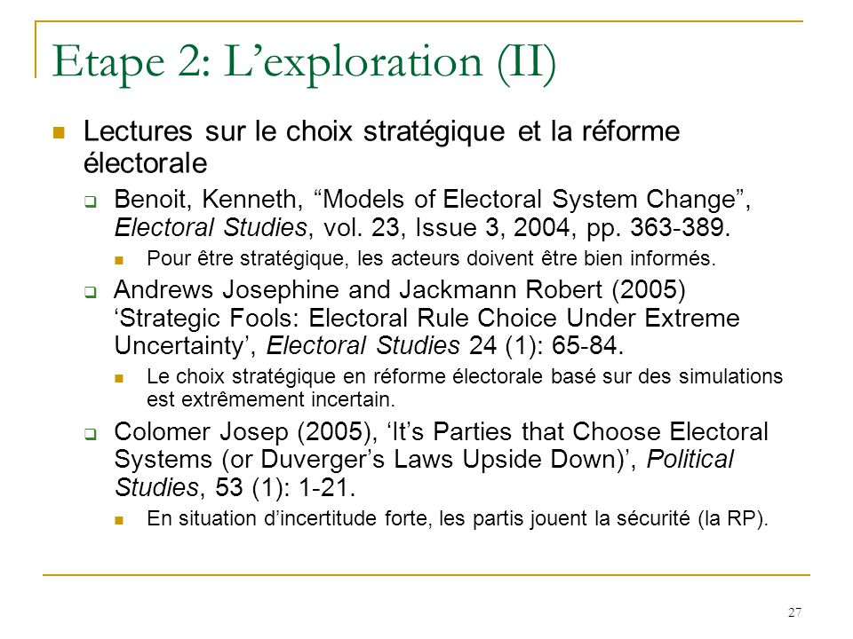 Etape 2: L'exploration (II)