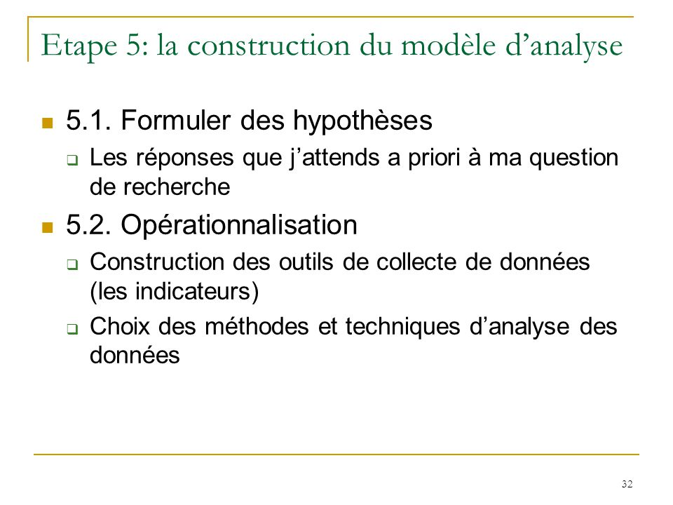 Etape 5: la construction du modèle d'analyse