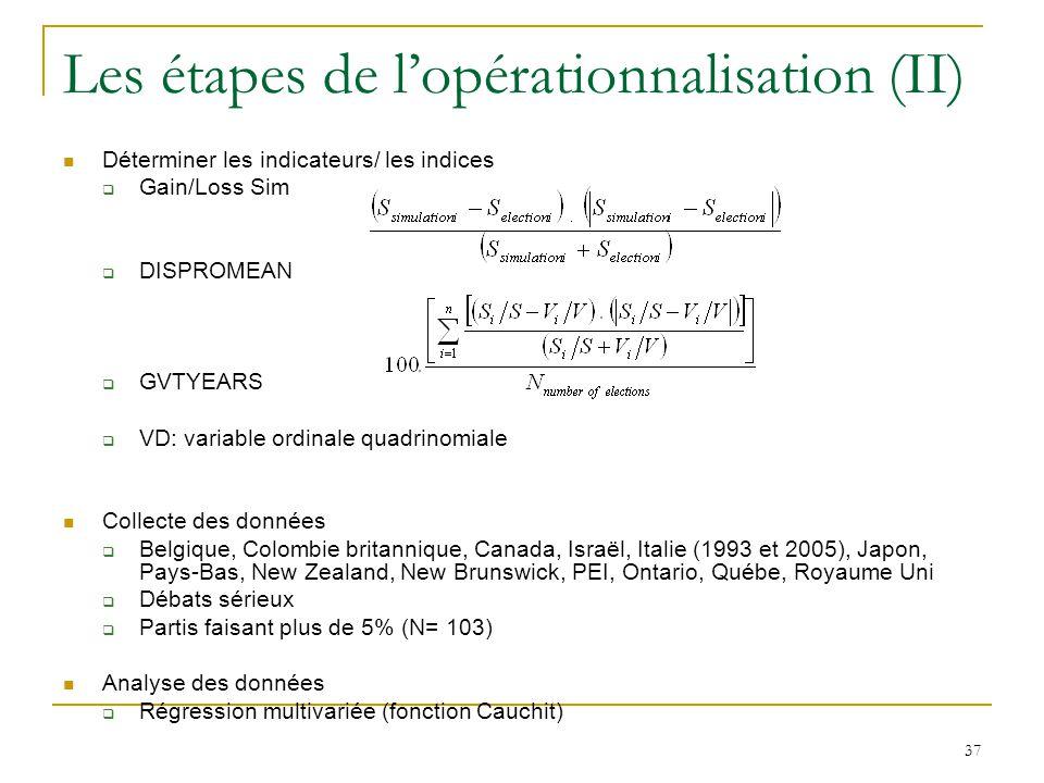 Les étapes de l'opérationnalisation (II)