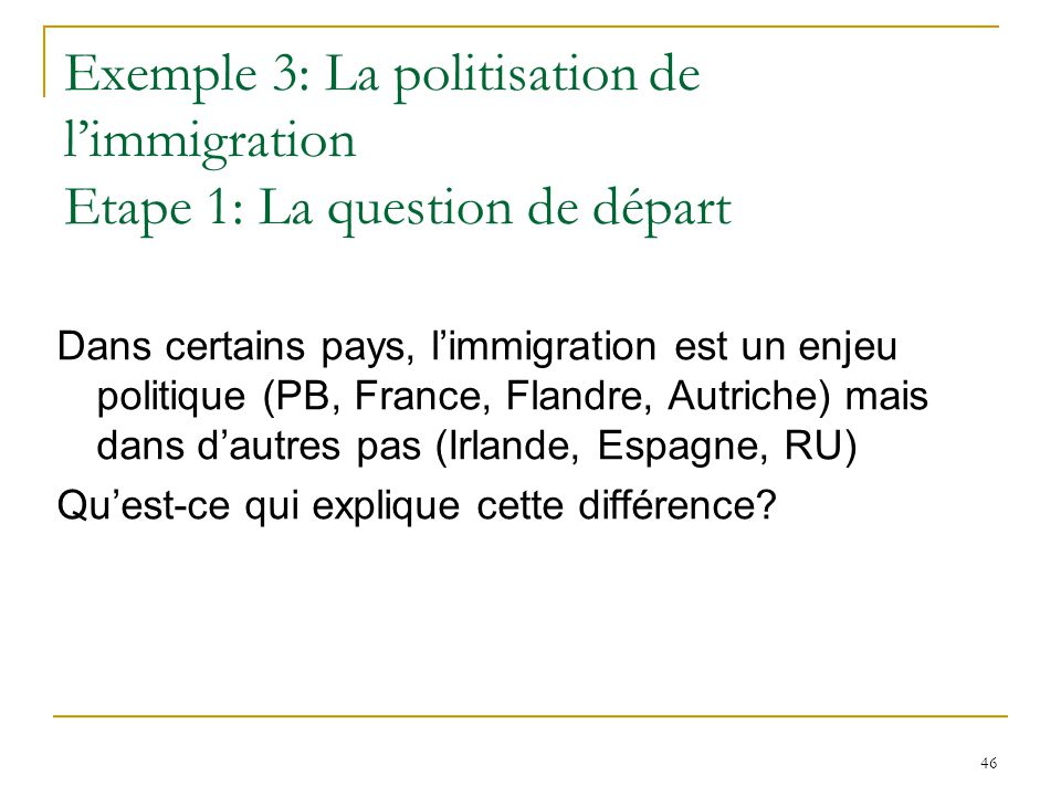 Exemple 3: La politisation de l'immigration Etape 1: La question de départ