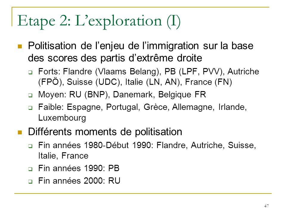 Etape 2: L'exploration (I)