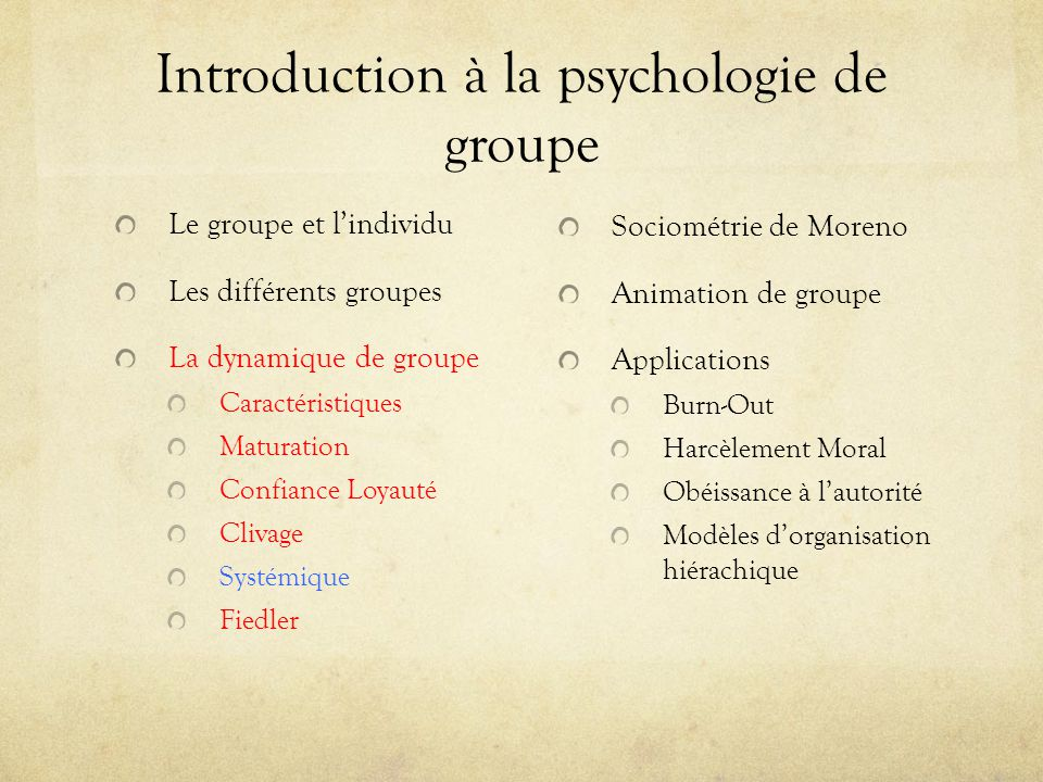 Introduction à la psychologie de groupe