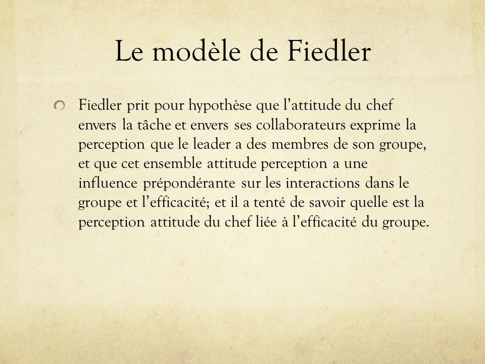 Le modèle de Fiedler