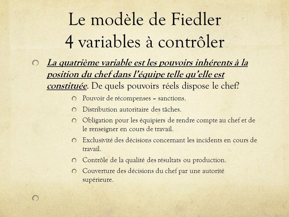 Le modèle de Fiedler 4 variables à contrôler