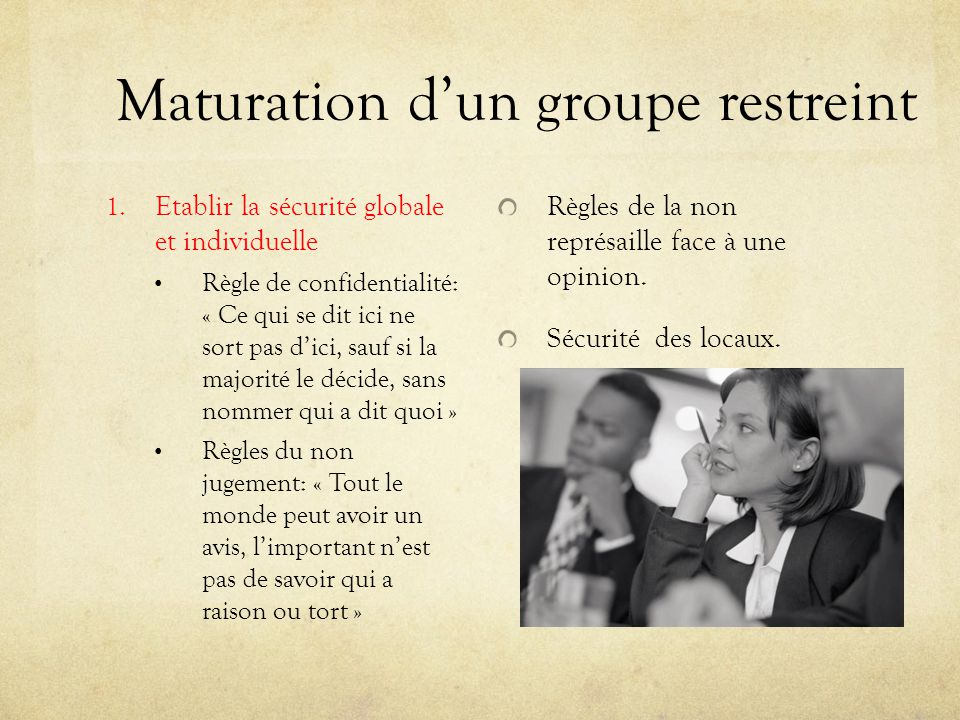 Maturation d'un groupe restreint