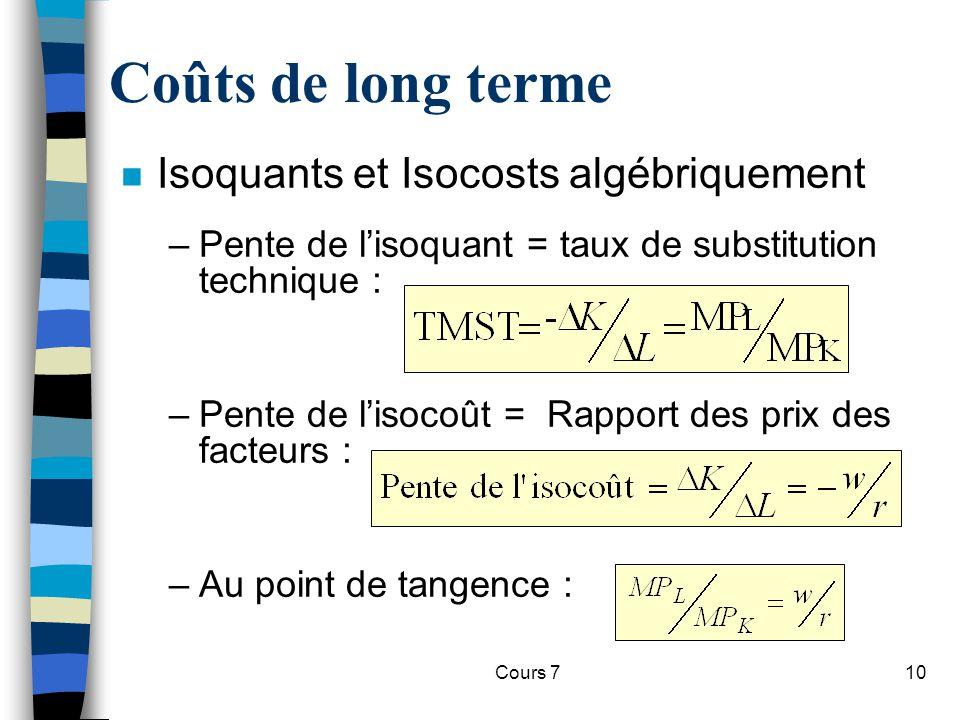Coûts de long terme Isoquants et Isocosts algébriquement