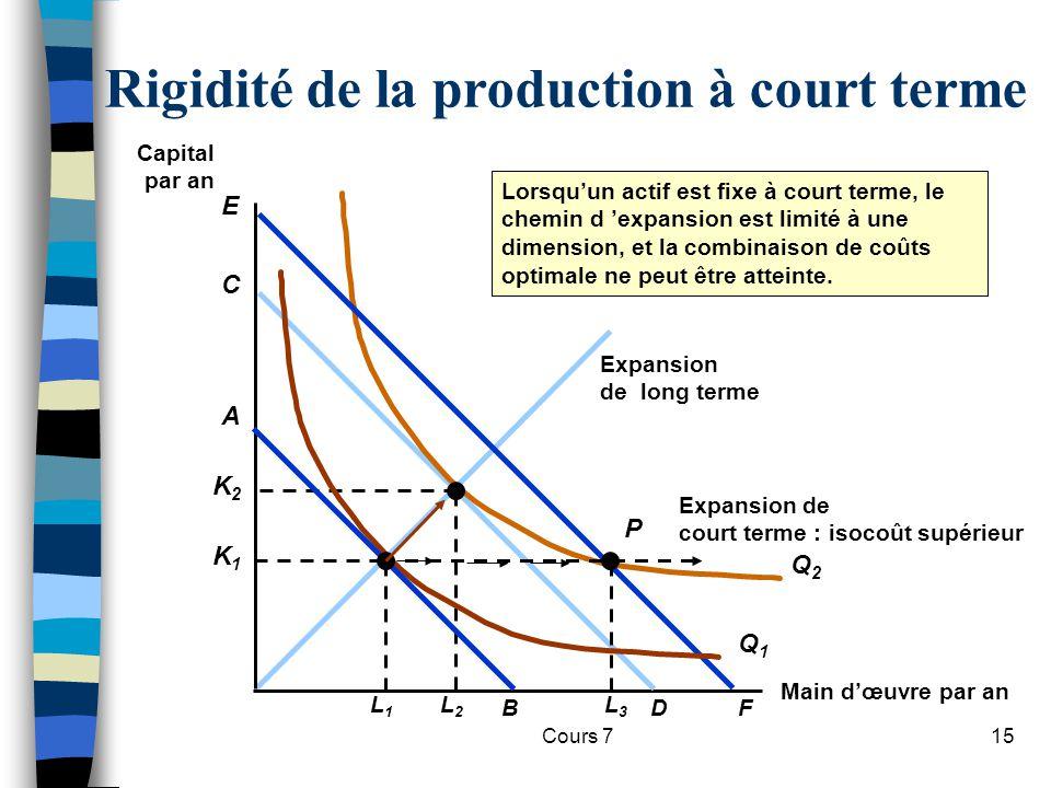 Rigidité de la production à court terme