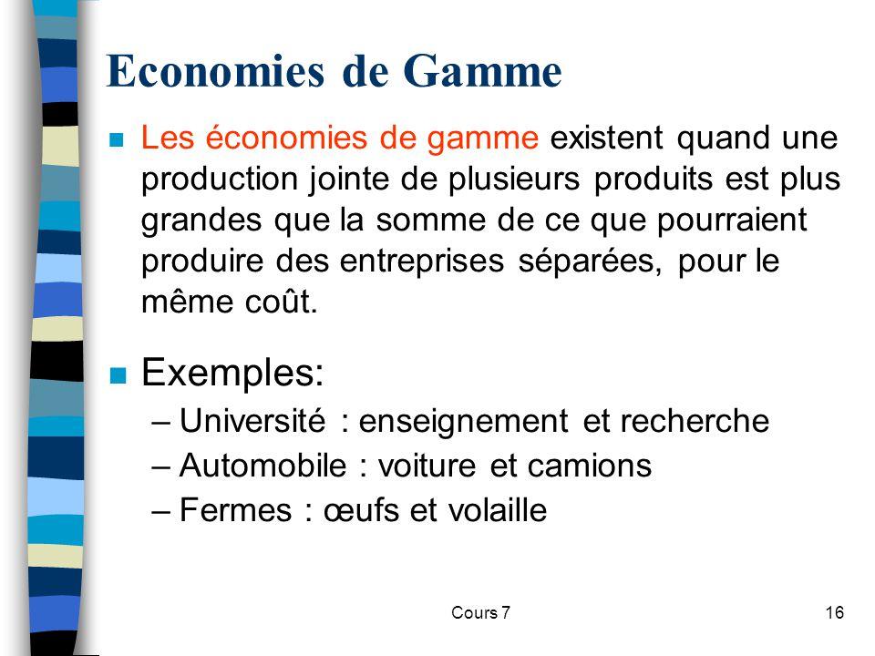 Economies de Gamme Exemples: