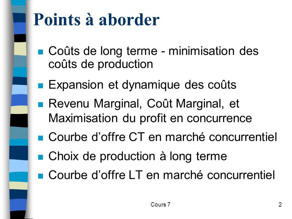 Points à aborder Coûts de long terme - minimisation des coûts de production. Expansion et dynamique des coûts.