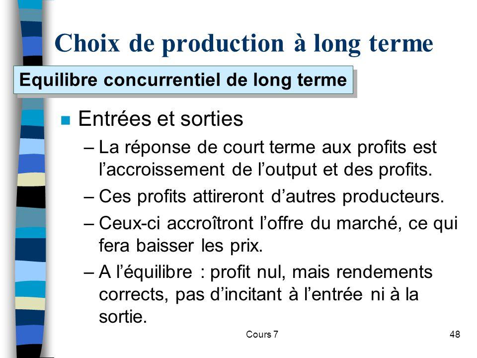 Choix de production à long terme