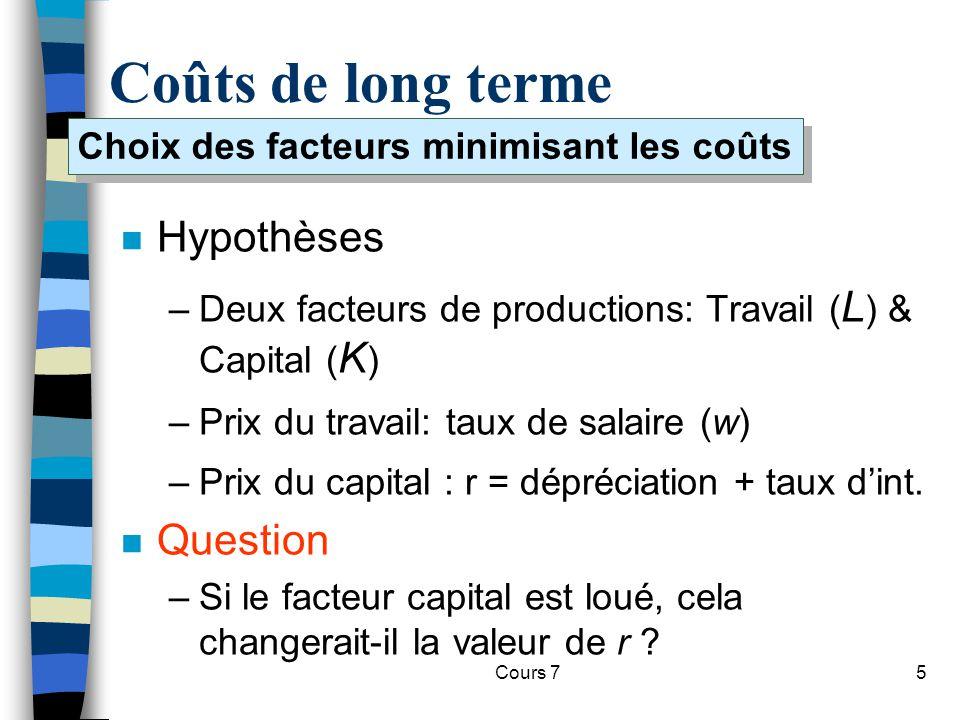 Choix des facteurs minimisant les coûts