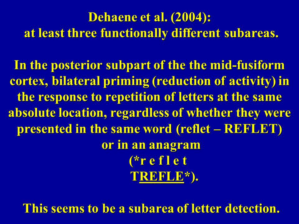 Dehaene et al. (2004): at least three functionally different subareas