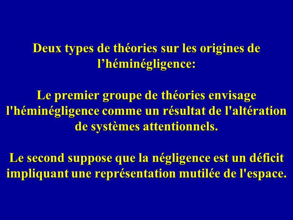 Deux types de théories sur les origines de l'héminégligence: Le premier groupe de théories envisage l héminégligence comme un résultat de l altération de systèmes attentionnels.