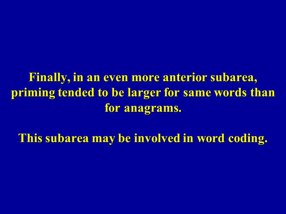 Finally, in an even more anterior subarea, priming tended to be larger for same words than for anagrams.