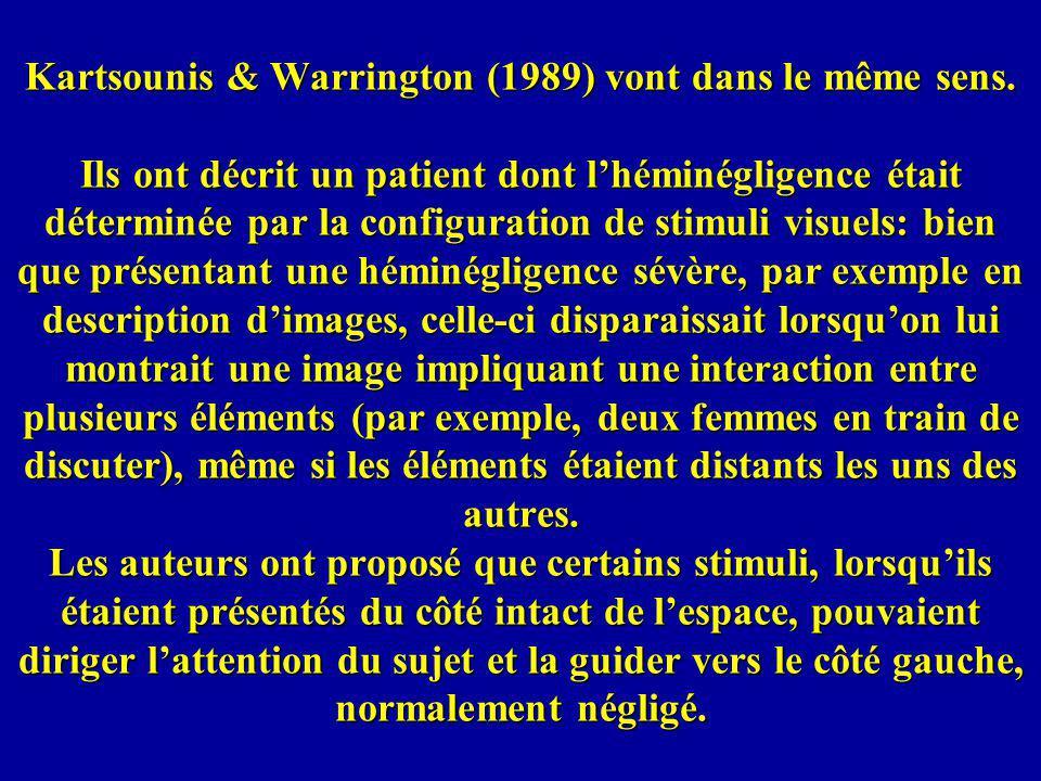 Kartsounis & Warrington (1989) vont dans le même sens
