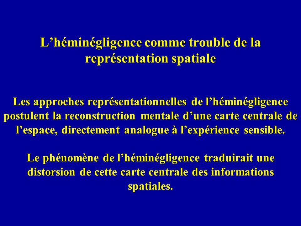 L'héminégligence comme trouble de la représentation spatiale Les approches représentationnelles de l'héminégligence postulent la reconstruction mentale d'une carte centrale de l'espace, directement analogue à l'expérience sensible.