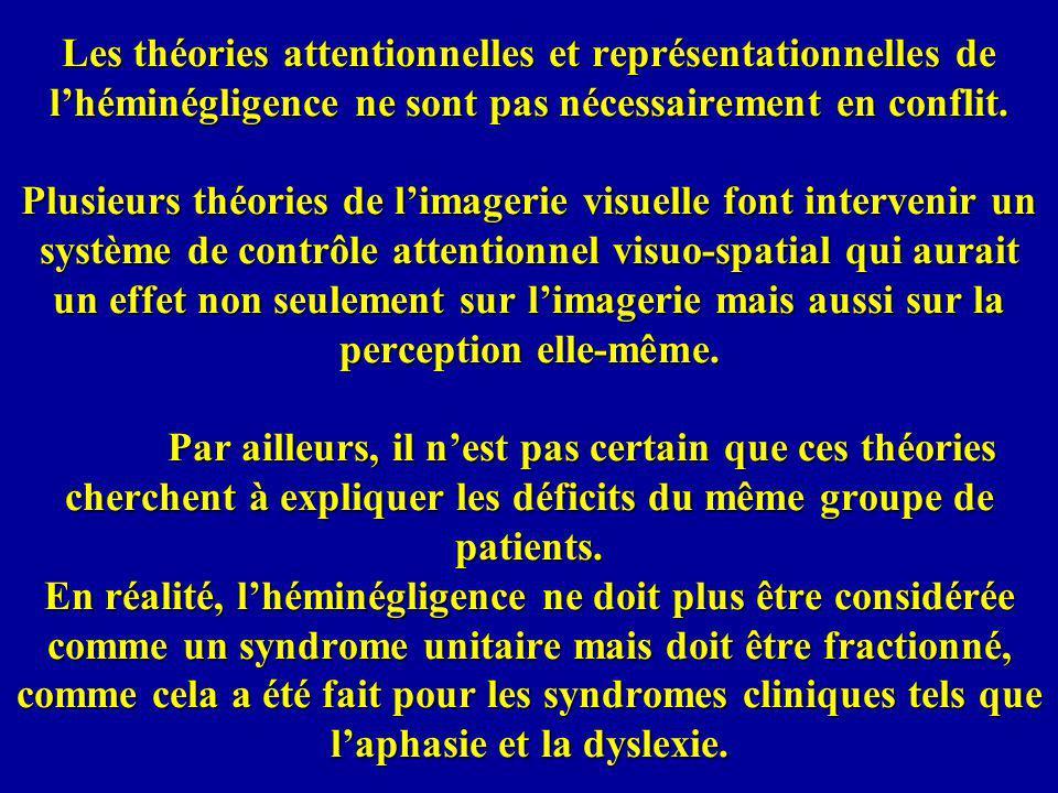 Les théories attentionnelles et représentationnelles de l'héminégligence ne sont pas nécessairement en conflit.
