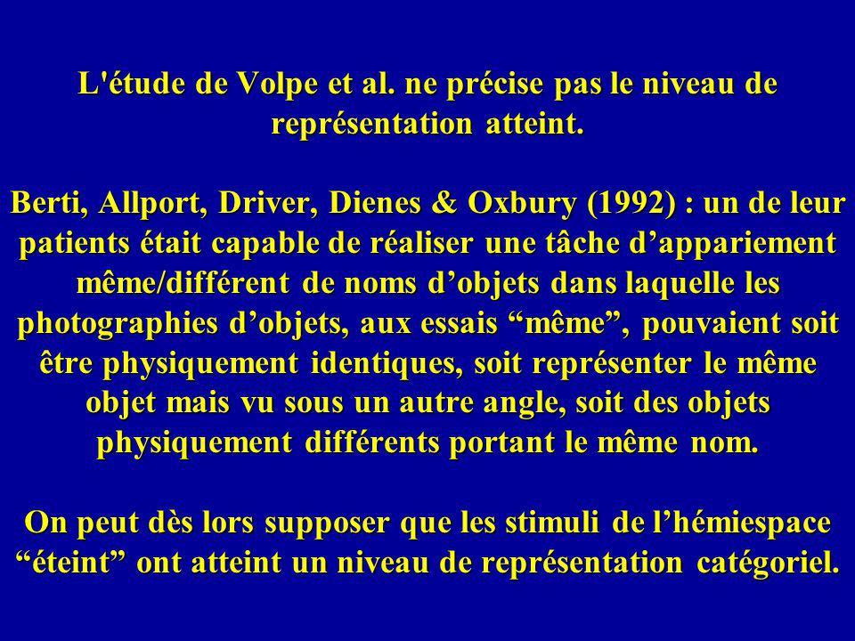 L étude de Volpe et al. ne précise pas le niveau de représentation atteint.