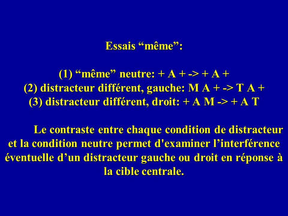 Essais même : (1) même neutre: + A + -> + A + (2) distracteur différent, gauche: M A + -> T A + (3) distracteur différent, droit: + A M -> + A T Le contraste entre chaque condition de distracteur et la condition neutre permet d examiner l'interférence éventuelle d'un distracteur gauche ou droit en réponse à la cible centrale.
