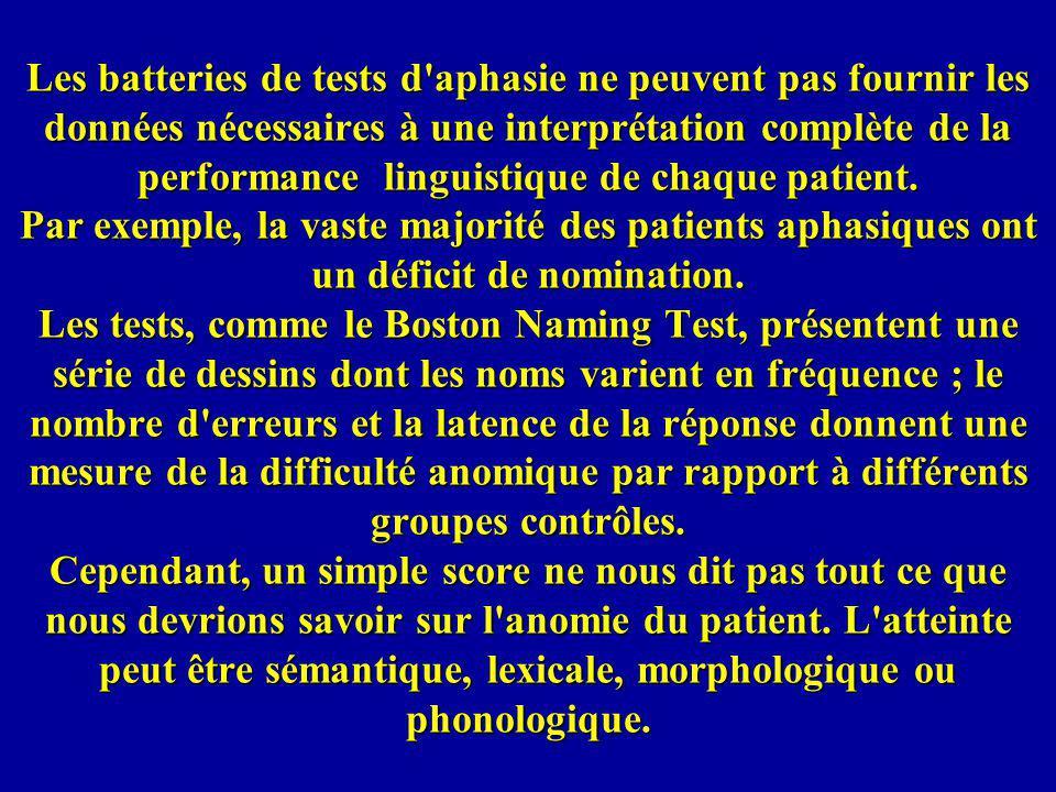 Les batteries de tests d aphasie ne peuvent pas fournir les données nécessaires à une interprétation complète de la performance linguistique de chaque patient.